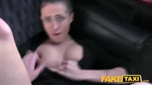 Faux Cab Big natural bouncing tits dark haired in Czech cab