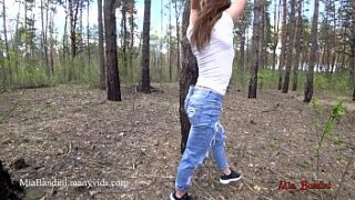 Real Public outdoor fucky-fucky for beautiful fit woman Mia Bandini in the forest, inexperienced duo, sport model fuck, sexy booty, spunky fucky-fucky
